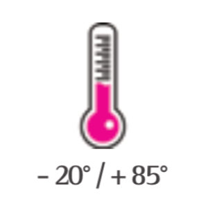 Standard working temperature: - 20° / + 85°. <br> In option extended range: - 40° / + 85°